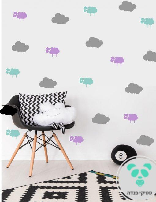 מדבקות קיר עננים וכבשים