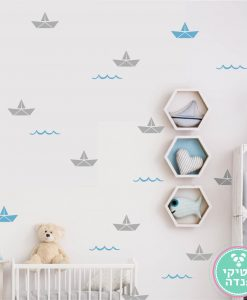 מדבקות סירה אוריגמי