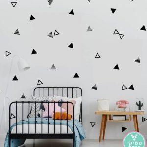 מדבקות קיר משולשים מפוספסים חלולים ומלאים