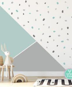 חדש עיגולים אסמטרים בקיר משולשים צבעוני