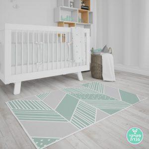 שטיח PVC נורדי לחדר ילדים - טקסטורה גיאומטרית