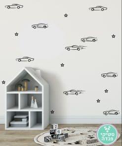 מכוניות מירוץ איור יד וכוכבים