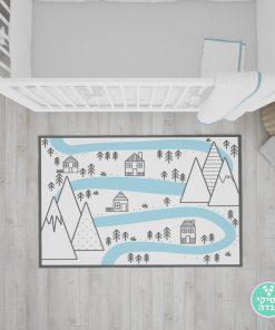 שטיח נורדי לחדר ילדים הנהר הקסום