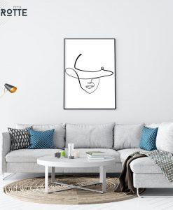 print one line וואן - אשה מביטה ליין